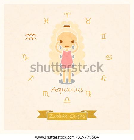 Vector Illustration Aquarius Zodiac Sign Texture Stock