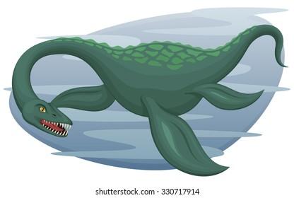 Vector illustration of an aquatic dinosaur, a plesiosaur, much like the Loch Ness Monster.