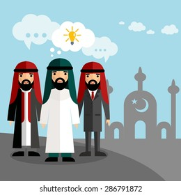 Vector illustration of Arab businessmen with mosque. Set of arabic businessman with dialog speech bubbles