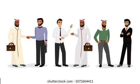Vector illustration of Arab businessmen, standing, talking and smiling. Successful business with muslim people, social concept. Muslim men in traditional clothes on white background in flat style.