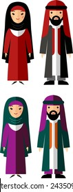 Vector illustration of arab male and female. Set of  arabic male and female dressed in national costumes