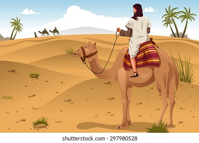 A vector illustration of Arabian riding camels on the desert