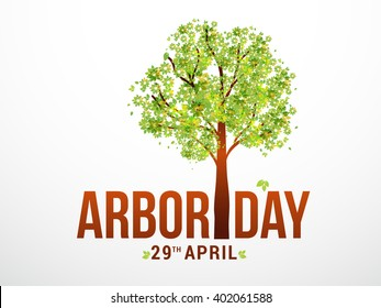Vector illustration of Arbor day typography with green tree.