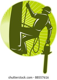 vector illustration of an arborist tree surgeon with chainsaw climbing a tree done in retro style set inside circle
