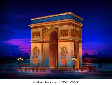 vector illustration of Arc De Triomphe world famous historical monument of Paris
