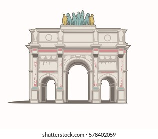 Vector Illustration of the Arc de Triomphe du Carrousel in Paris
