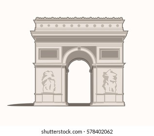 Vector Illustration of the Arc de Triomphe in Paris