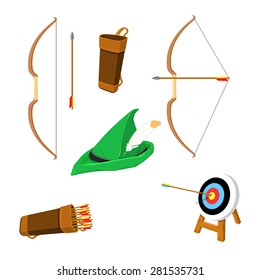 A vector illustration of an an archery retro set. Vintage Archery Icon set. Retro archery sport Icons.