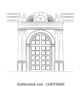 Vector Illustration of Architectural Detail. Corinthian Order Columns, Arch Door Frame and Fronton. Monochrome Freefand Drawing for Interior or Exterior. Retro Style Building. Classical Architecture.