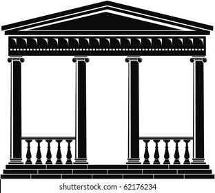 Vector illustration of architectural element - Portico (Colonnade), ancient temple