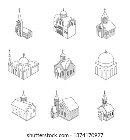 Vector illustration of architecture and building icon. Collection of architecture and clergy stock symbol for web.