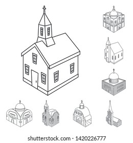 Vector illustration of architecture and building icon. Collection of architecture and clergy vector icon for stock.