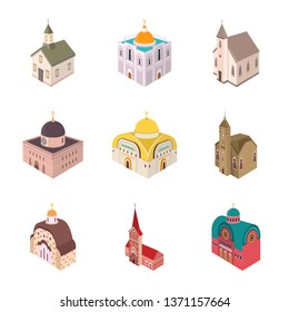 Vector illustration of architecture and building logo. Collection of architecture and clergy stock symbol for web.