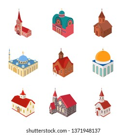 Vector illustration of architecture and building logo. Set of architecture and clergy stock vector illustration.
