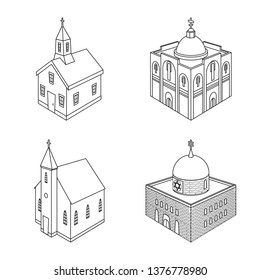 Vector illustration of architecture and building sign. Collection of architecture and clergy stock symbol for web.