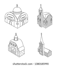 Vector illustration of architecture and building sign. Collection of architecture and clergy stock vector illustration.
