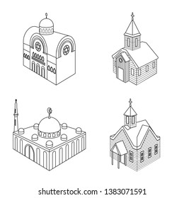 Vector illustration of architecture and building sign. Set of architecture and clergy stock vector illustration.