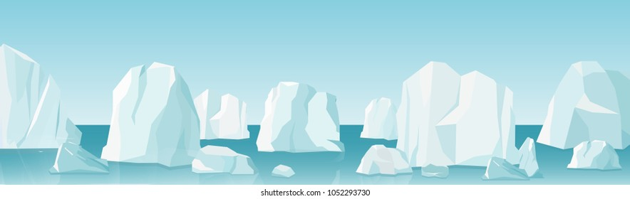 Vector illustration of arctic landscape in flat cartoon style. nature winter arctic ice landscape with lot of icebergs, snow mountains and hills.