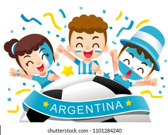 Vector illustration of Argentina football fans characters celebrating