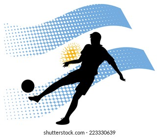 vector illustration of argentina soccer player silhouette against national flag isolated on white