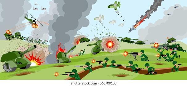 Vector illustration of armies on battlefield