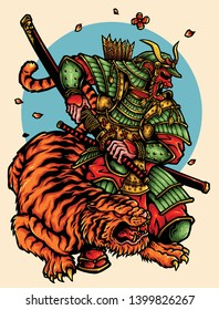 vector illustration of armored japanese ronin warrior and tiger