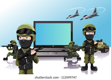 A vector illustration of an army of soldiers protecting a laptop