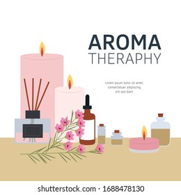 Vector illustration Aromatherapy. Aromatizer. Aromatic air freshener, essential oil bottles and candles, herbs, flowers. Flat set of elements isolated on white. Ayurveda, spa, wellness and body care b