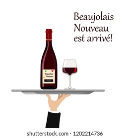 Vector illustration of the arrival of beaujolais Nouveau wine with glass on tray
