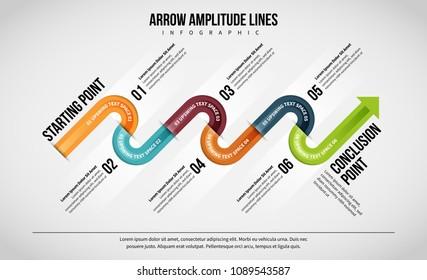Vector illustration of Arrow Amplitude Lines Infographic design element.