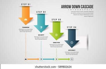 Vector illustration of arrow down cascade infographic design element.