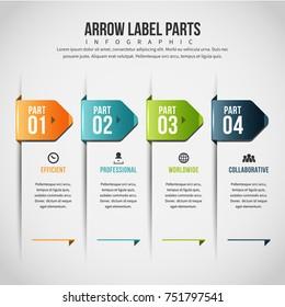 Vector illustration of Arrow Label parts Infographic design element.