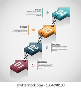 Vector illustration of Arrow Ladder Stack Infographic design element.