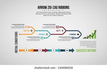 Vector illustration of Arrow Line Infographic design element.