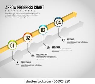 Vector illustration of arrow progress chart infographic design element.