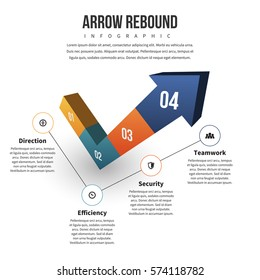 Vector illustration of arrow rebound infographic design element.