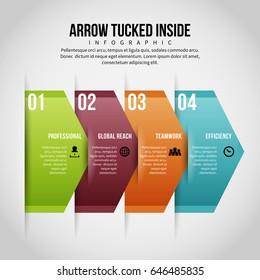 Vector illustration of arrow tucked inside infographic design element.