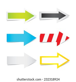 Vector illustration of arrows in different variation isolated on white