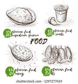 Vector illustration art set. Black and white sketch. Raw, vegan, vegetarian food. Cartoon set with monochrome seeds on white background. Chia seeds, caraway, different seeds and Chenopodium quinoa.