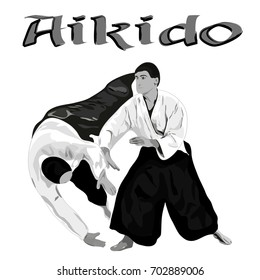 Vector illustration art of two Aikido martial art masters illustrating throwing technique, isolated on white background, clipping / selection path included.