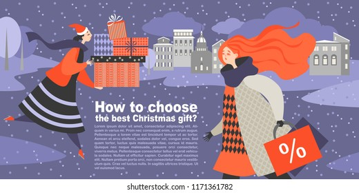 Vector illustration for an article on choosing the best Christmas gift. Two cartoon girls in search of gifts