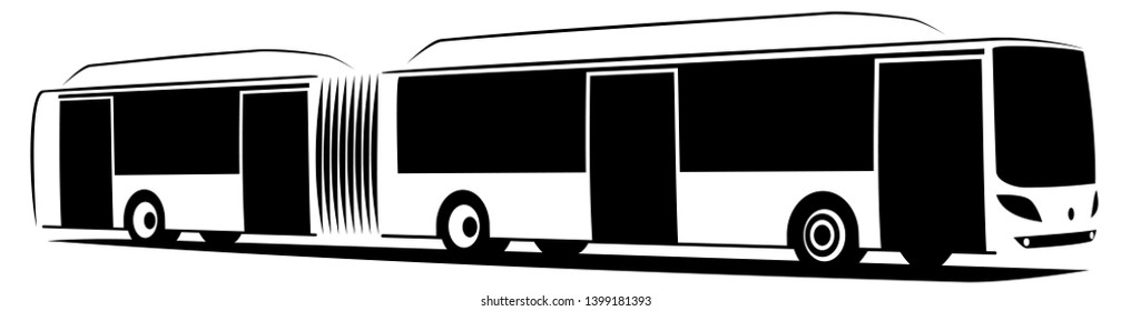 Vector illustration of an articulated city bus with four doors. It uses some sort of alternative fuel as CNG, electricity or hydrogen