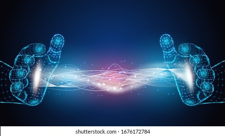 Vector illustration of artificial intelligence holding an energy field in his hands. Science, futuristic, web, network concept, communications, high technology. EPS 10