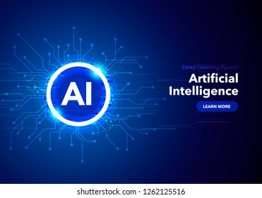 Vector Illustration artificial Intelligence landing page. Website template for ai machine deep learning technology sci-fi concept.