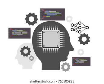 Vector Illustration of Artificial Intelligence and Machine Learning Concept