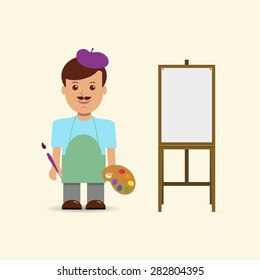 Vector illustration artist and easel.
