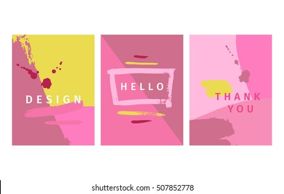 Vector illustration.Set of artistic creative cards. Modern posters.Hand drawn texture.