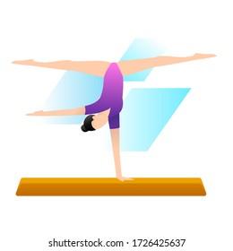 Vector illustration of artistic gymnastics. Sport concept