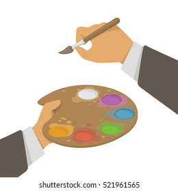 Vector illustration of artists hands holding a paint brush and palette, isolated on a white background.