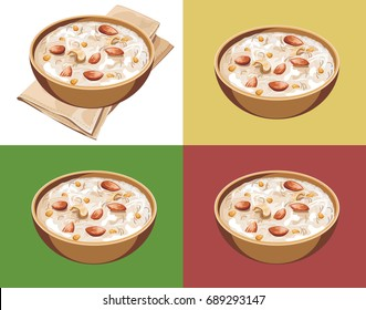 Vector illustration or artwork of Kheer or semiya khir in a bowl, Indian sweet